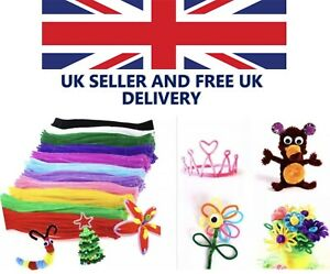 """chenille craft stems pipe cleaners 30cm(12"""") long, 6mm wide - lots of colours UK"""