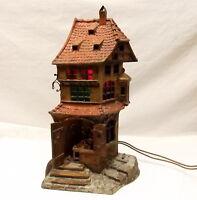 Antique Franz Bergman Cold Painted Bronze Lamp Medieval Cobbler Shop Austria Vtg