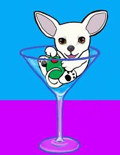 White Chihuahua Martini Dog Signed Art PRINT of Digital Painting Artwork by VERN