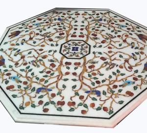 "24"" Marble coffee Table inlay Pietra dura multi stones inlay home furniture"