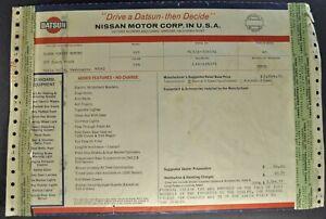 1972 Datsun Pickup Truck Window Shipping Invoice Nissan PL521 Nice Original 72