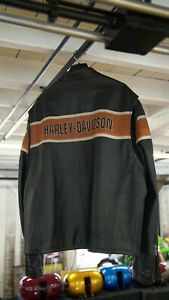 Genuine Harley Davidson Men's 3XL Black & Orange #1 Leather Jacket NEVER WORN #4