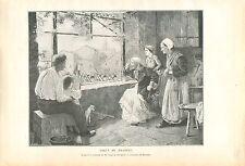 Salut au Drapeau par Paul de Plument de Bailhac GRAVURE ANTIQUE OLD PRINT 1913