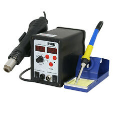 2in1 Soldering Iron Rework Station Hot Air Gun Desoldering Welder 11 Tips 898D+
