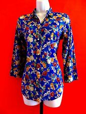 RALPH  LAUREN  100% COTTON  MULTI-COLOR  3/4 SLEEVE BLOUSE SHIRT TOP size  S
