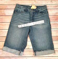 Nwt Crazy 8 Boys 12 Frayed Hem & Adjustable Waist Denim Shorts Jeans Cuffed New