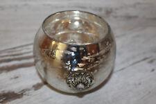 Windlicht Teelicht rund silber Deko Weihnachten shabby Landhaus vintage