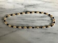 Vintage Pearl & Red Beads Necklace With Gold Beads Spacers Excellent Condition