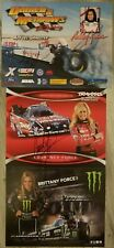 Lot of 3 Signed Ashley Courtney Brittany Force Handouts NHRA