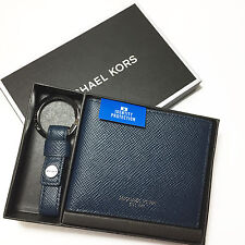 Michael Kors Mens Slim Billfold Wallet & Key Fob Boxed Set Navy Leather RFID NWT