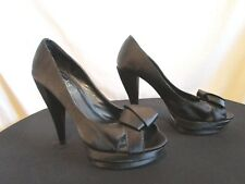 819023bbb378 Charles David Black Satin Bow Peep Toe Platform High Heels Size Women Sz