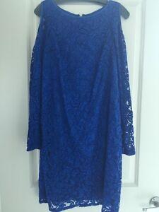 NEW Saks 5th Avenue Cobalt Blue Lace Overlay Cut Out Shoulder Dress size 12