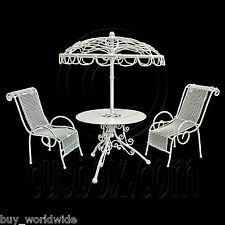 Set White Metal Outdoor Table Pair Chairs 1:12 Doll's House Dollhouse Furniture