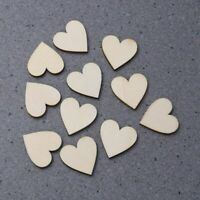 50pcs/Set Hearts Shape Wood Pieces Craft Log Discs Slices Wedding Party Decor AU
