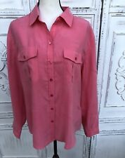 "Coral Pink CHICO'S Size 3 XL 1X 50"" Chest Modal Button Frt Blouse Top Conv Slv"