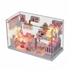 Handcraft Wooden Pink Dolls House Pretty Princess Room DIY Fun Glass House
