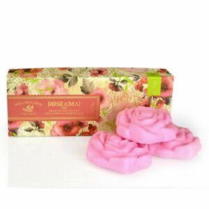 Pre de Provence French Soap Bar In Gift Box Rose de Mai 3 Bars