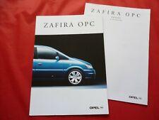 OPEL Zafira A OPC Prospekt Brochure + Preisliste Pricelist von 2001