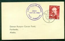NORWAY 1951, First Polar Airmail card Oslo-Fairbanks Alaska