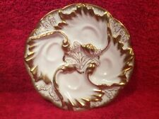 Oyster Plate Stunning Antique Lady's Oyster Plate Limoges White & Gold  c1891