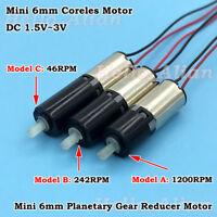 DC 3V Micro Mini 6mm Planetary Gearbox Gear Reducer Motor Micro Coreless Motor