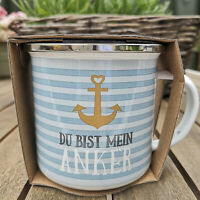 Maritim Du bist mein Anker Emaille Tasse 370ml Metall Kaffeebecher Anchor Strips