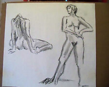 """""""TWO SKETCHES"""" by Ruth Freeman CONTE CRAYON 18"""" X 19 1/4"""""""