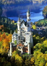 Fine Oil painting the castle located in the depths of the forest & river in view