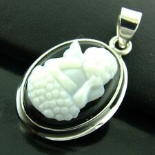 PENDANT GENUINE 925 STERLING SILVER ENGRAVED CUPID SHELL ONYX CAMEO DESIGN