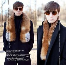 Russian Red Fox Long Real Natural Fur Boa Collar Scarf Stole for MEN 125cm