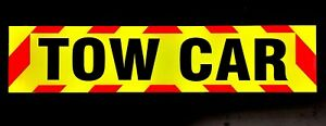 TOW CAR Fluorescent Magnetic Warning Sign with chevrons