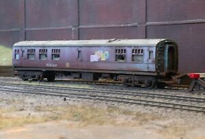 OO gauge abandoned LMS  Buffet Car, heavily rusted and weathered