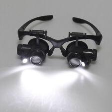 20x fach schwarz Uhrmacher Lupe Brillenlupe Lupenbrille LED Licht Uhr Reparatur