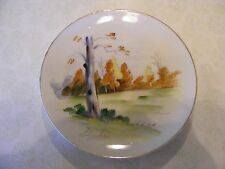 """Vintage Handpainted Wall Plate Signed By Artist Gold Trim On Edge """"Enesco"""""""