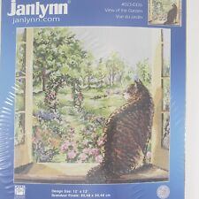 Janlynn Counted Cross Stitch Kit View of The Garden Cat Flowers