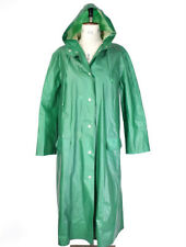 Women's Green RUKKA 70s PVC Matte VTG Cotton HOODED Raincoat Trench Mac Coat M