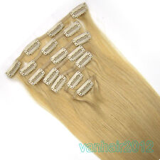 """15""""18""""20""""22"""" 7PCS Clip In Remy Real Human Hair Extension Straight #24 Blonde 70g"""