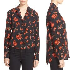 Equipment Reese Silk Shirt Blouse Size L  Floral Paisley Black Paprika Large NEW