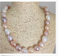 Elegante 11-12mm Südsee Barock Multicolor Perlenkette