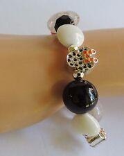 Halloween Orange Black Glass Beaded MINNIE MOUSE Silver Beads DISNEY Bracelet
