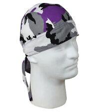 Purple Black White Camo Doo Rag head wrap Skull Cap Biker Durag Camouflage