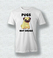 PUGS NOT DRUGS Funny Cute Dog T-Shirt Tee Top For Men Woman Children