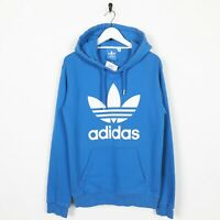 Vintage ADIDAS ORIGINALS Big Trefoil Logo Hoodie Sweatshirt Blue | Small S