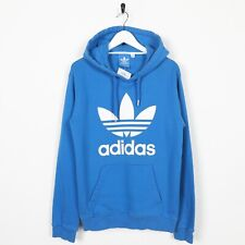 Vintage ADIDAS ORIGINALS Big Trefoil Logo Hoodie Sweatshirt Blue Small S