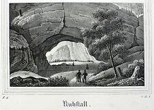 HINTERHERMSDORF - Kuhstall - Saxonia - Kreidelithografie 1835