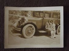 TWO WELL DRESSED WOMEN SITTING ON RUNNING BOARD OF FANCY CAR Vtg 1920's PHOTO