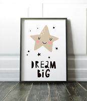 Dream Big Star Print For Nursery / Bedroom / Picture / Wall Art Boys / Girls