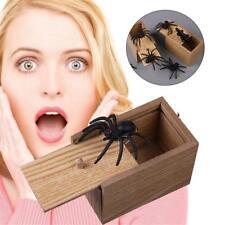 Funny Scare Box Spider Hidden in Case Prank-Wooden Scarebox Joke Trick Play Toys