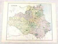 1889 Antique Map of Durham Jarrow Barnard Castle Tyneside 19th Century Original