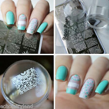 Arabesque Nail Art Stamp Plate XL Clear Marshmallow Silicone Jelly Stamper Kit